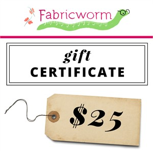 $25 Gift Certificate to fabricworm.com