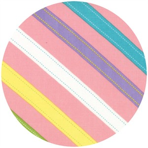 Abi Hall for Moda, ABC Menagerie, Stitched Stripes Bubble Gum