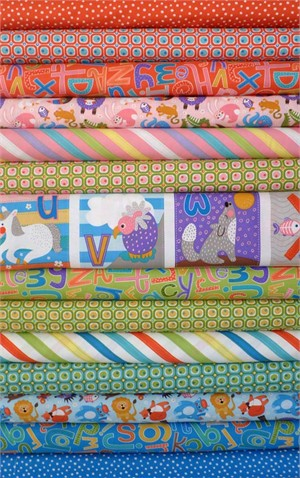 Abi Hall for Moda, ABC Menagerie in FAT QUARTERS 14 Total