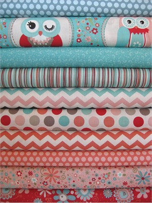 Adornit, Owls, Coral in FAT QUARTERS, 9 Total