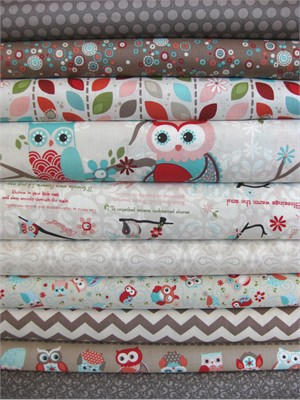 Adorn It, Owls, Cream in FAT QUARTERS, 9 Total