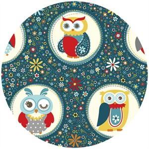 Adornit, Owls, Polka Dot Navy
