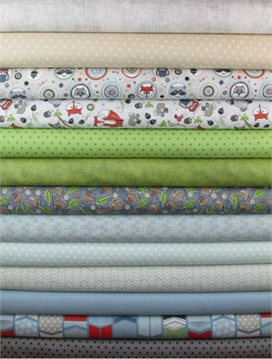 Adornit, Timberland Critters, Blue/Green in FAT QUARTERS 13 Total