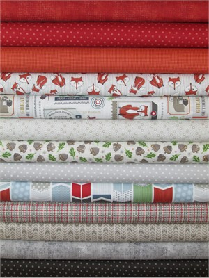 Adornit, Timberland Critters, Red/Cream in FAT QUARTERS 13 Total