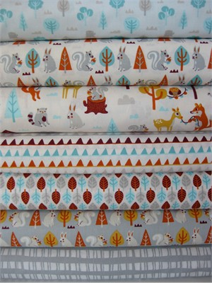 Allison Cole, Festive Forest, Gray in FAT QUARTERS, 6 Total