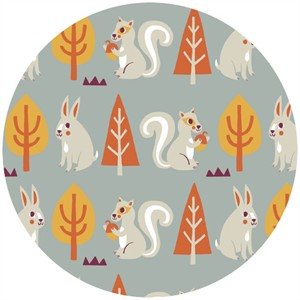 Allison Cole, Festive Forest, Squirrels & Rabbits Gray