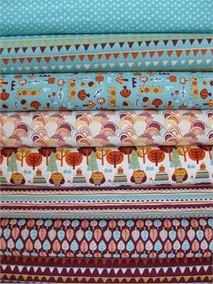 Allison Cole, Festive Forest, Turquoise Burgundy in FAT QUARTERS, 8 Total