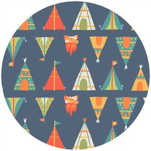 Allison Cole, Happy Camper, Quilting FLANNEL, Teepees Blue