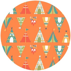 Allison Cole, Happy Camper, Quilting FLANNEL, Teepees Orange