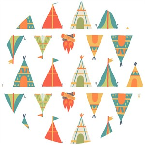Allison Cole, Happy Camper, Quilting FLANNEL, Teepees White