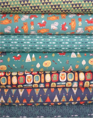 Allison Cole, Happy Camper, Quilting FLANNEL, Turquoise in FAT QUARTERS 6 Total