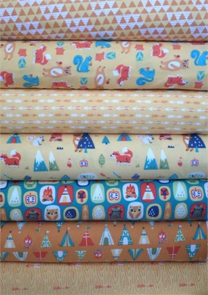 Allison Cole, Happy Camper, Quilting FLANNEL, Orange in FAT QUARTERS 7 Total