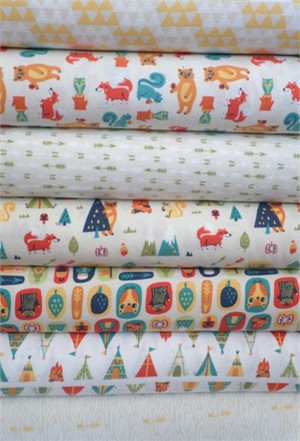 Allison Cole, Happy Camper, Quilting FLANNEL, Cream in FAT QUARTERS 7 Total