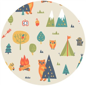 Allison Cole, Happy Camper, Quilting FLANNEL, Camping Trip Cream