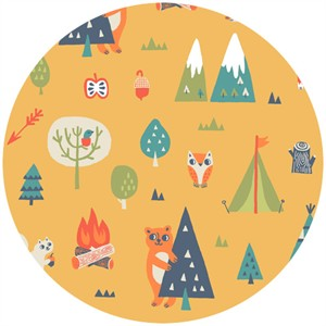 Allison Cole, Happy Camper, Quilting FLANNEL, Camping Trip Orange
