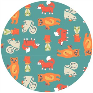 Allison Cole, Happy Camper, Quilting FLANNEL, Critters Turquoise