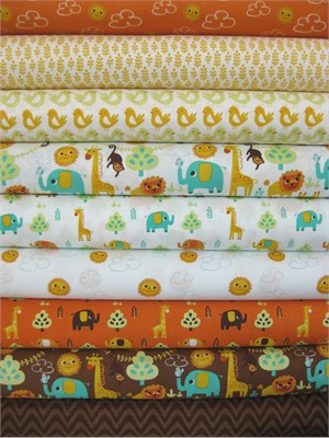 Allison Cole, Happy Jungle, Orange in FAT QUARTERS, 8 Total