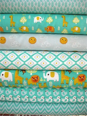Allison Cole, Happy Jungle, Turquoise in FAT QUARTERS, 7 Total