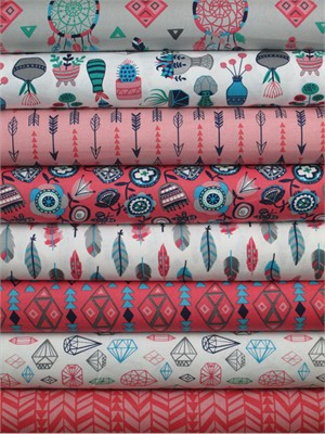 Allison Cole, What a Gem, Coral in FAT QUARTERS 8 Total