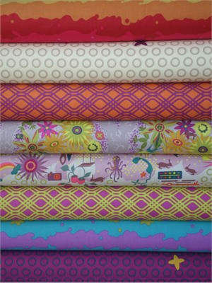 Alison Glass, Clover Sunshine, Fuchsia in FAT QUARTERS 8 Total