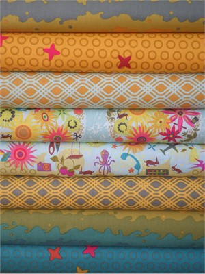 Alison Glass, Clover Sunshine, Teal/Mustard in FAT QUARTERS 7 Total
