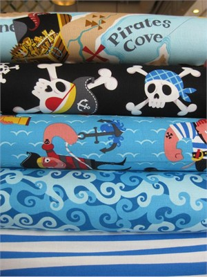 Alexander Henry, Ahoy Mateys, Blue in FAT QUARTERS, 5 Total