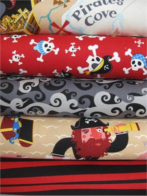 Alexander Henry, Ahoy Mateys, Red in FAT QUARTERS, 5 Total