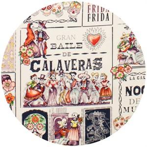 Alexander Henry, Baile de Calaveras Tea/Eggplant (23 Inch Panel)