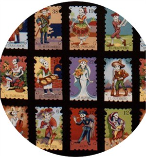Alexander Henry, Folklorico, Cartas Marcadas Black Multi (23 Inch Panel)