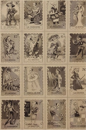 Alexander Henry, Folklorico, Cartas Marcadas Smoke (23 Inch Panel)