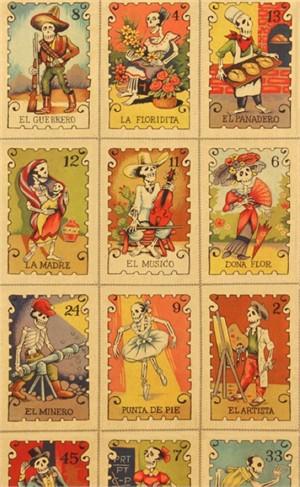 Alexander Henry, Folklorico, Cartas Marcadas Tea (23 Inch Panel)