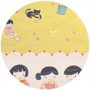 "Alexander Henry, Little Indochine Girls, A-Chan Border Green Tea (18"" Panel)"