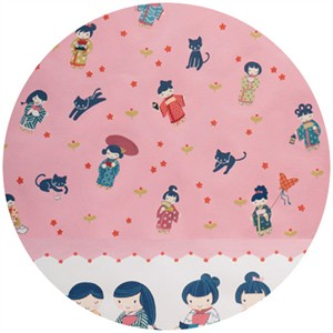 "Alexander Henry, Little Indochine Girls, A-Chan Border Pink (18"" Panel)"