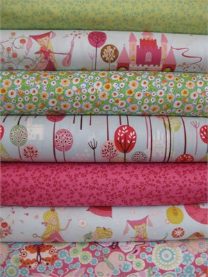 Alexander Henry, Once Upon A Time, Baby Blue in FAT QUARTERS, 6 Total
