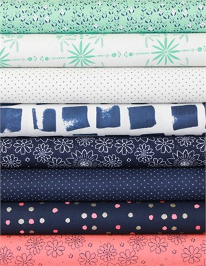 Alexia Marcelle Abegg for Cotton and Steel, Paper Bandana, Indigo in FAT QUARTERS 6 Total