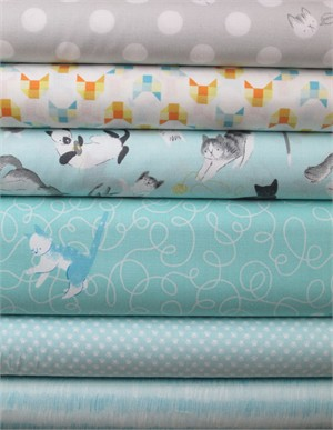 Alyssa Thomas, Here Kitty Kitty Organic, Light Blue in FAT QUARTERS 6 Total