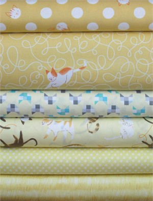 Alyssa Thomas, Here Kitty Kitty Organic, Yellow in FAT QUARTERS 6 Total
