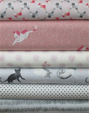 Alyssa Thomas, Here Kitty Kitty Organic, Pink/Grey in FAT QUARTERS 5 Total