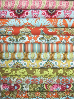 Amy Butler, Belle, Sunday Blossoms in FAT QUARTERS 12 Total