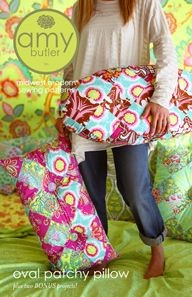 Amy Butler Sewing Pattern, Oval Patchy Pillow and Bonus Projects