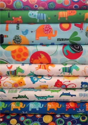 Amy Schimler, Jungle Creatures, Bright in FAT QUARTERS 9 Total