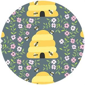 Andover Fabrics, 1canoe2, Busy Bees Charcoal