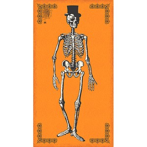 Andover Fabrics, Chillingsworth, Skeleton Dance Panel Pumpkin  (23 Inch Panel)
