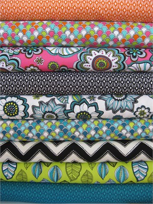 Andie Hanna for Robert Kaufman, Modern Bliss, Bright in FAT QUARTERS 9 Total