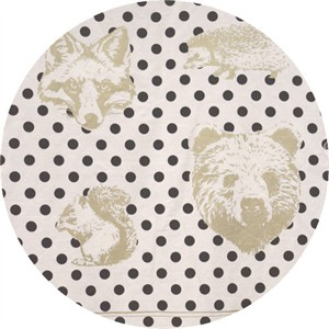 "Japanese Import, OXFORD, Animal Head Dot Natural (23"" panel)"