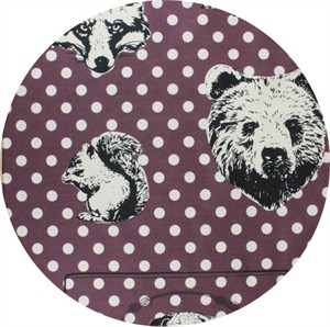"Japanese Import, OXFORD, Animal Head Dot Plum (23"" panel)"