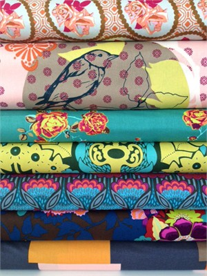 Anna Maria Horner, Hand Drawn Garden, Evening in FAT QUARTERS 7 Total