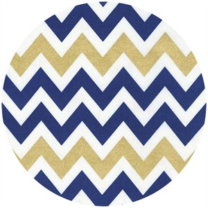 Ann Kelle, Remix, Metallic Chevron Stripes Indigo