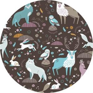 Camelot Fabrics, Snow Fall, Arctic Fauna Dark Brown