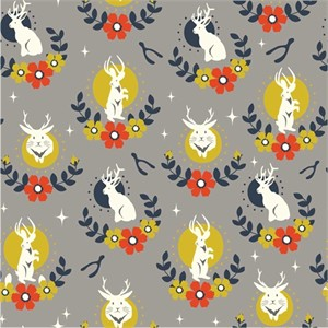 Arleen Hillyer for Birch Organic Fabrics, Tall Tales, CANVAS, Jackalope Shroom